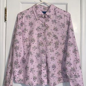 Lavender floral button front long sleeved top.
